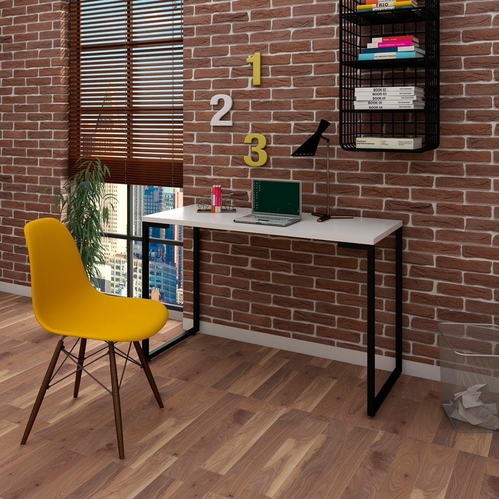 Mesa Escrivaninha Fit Industrial 120cm Branco e Cadeira Charles Design FT1 Amarela - Mpozenato