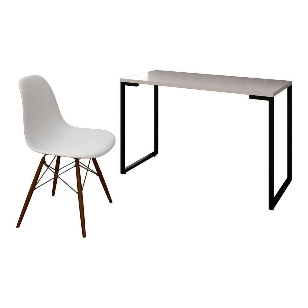 Mesa Escrivaninha Fit Industrial 120cm Branco e Cadeira Charles Design FT1 Branca - Mpozenato