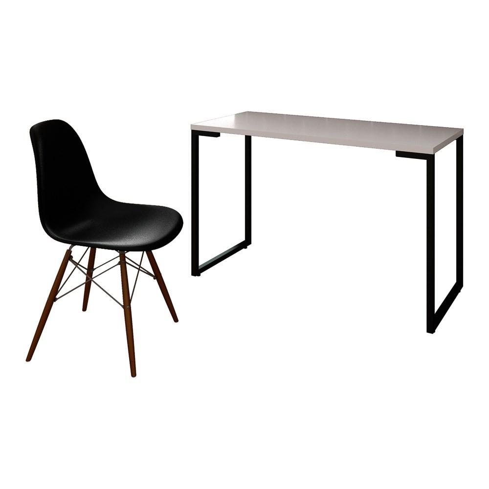 Mesa Escrivaninha Fit Industrial 120cm Branco e Cadeira Charles Design FT1 Preta - Mpozenato