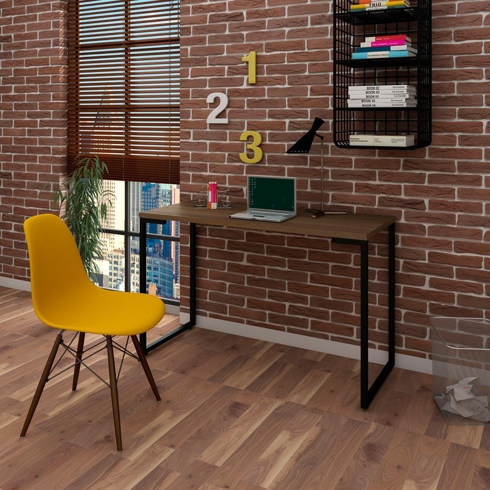 Mesa Escrivaninha Fit Industrial 120cm Castanho e Cadeira Charles Design FT1 Amarela - Mpozenato