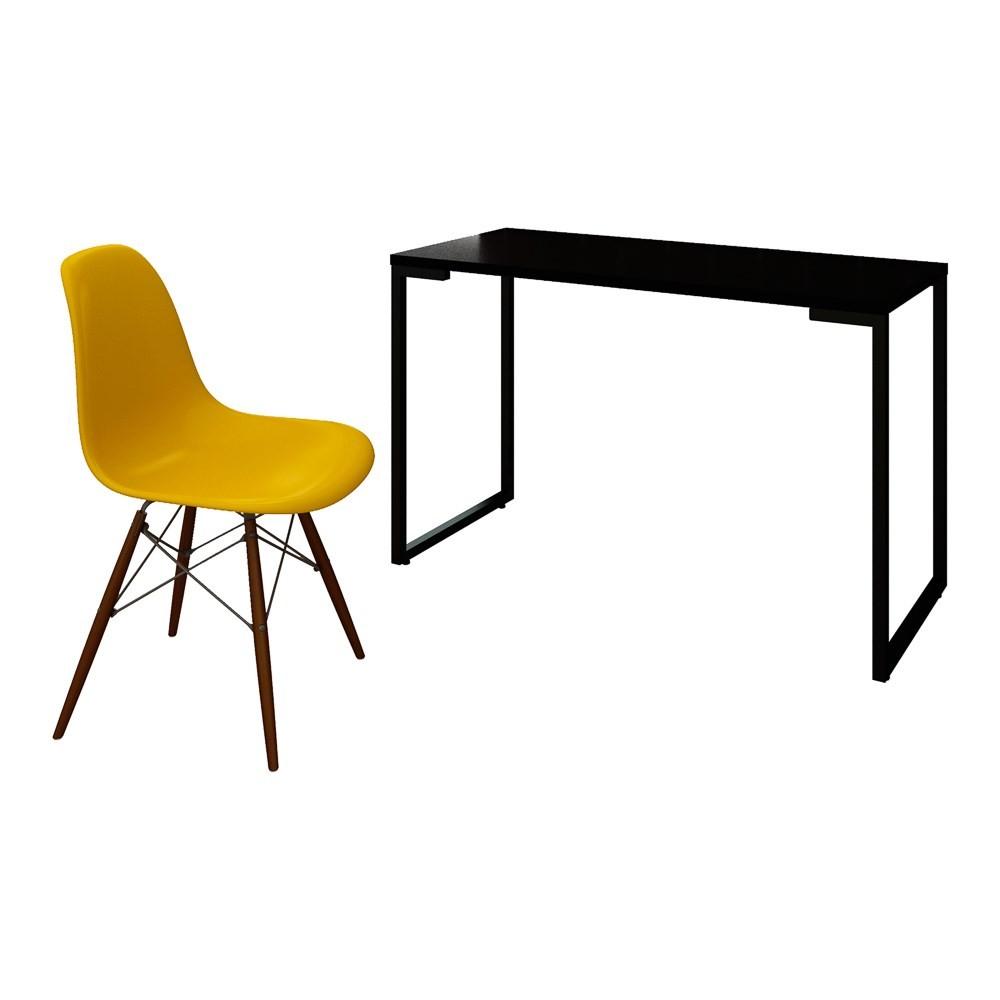 Mesa Escrivaninha Fit Industrial 120cm Preto e Cadeira Charles Design FT1 Amarela - Mpozenato