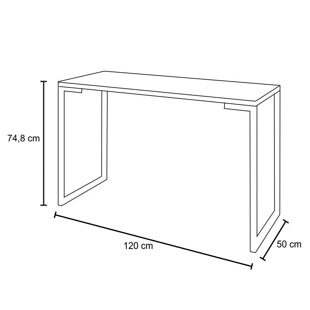 Mesa Escrivaninha Fit Industrial 120cm Preto e Cadeira Charles Design FT1 Branca - Mpozenato