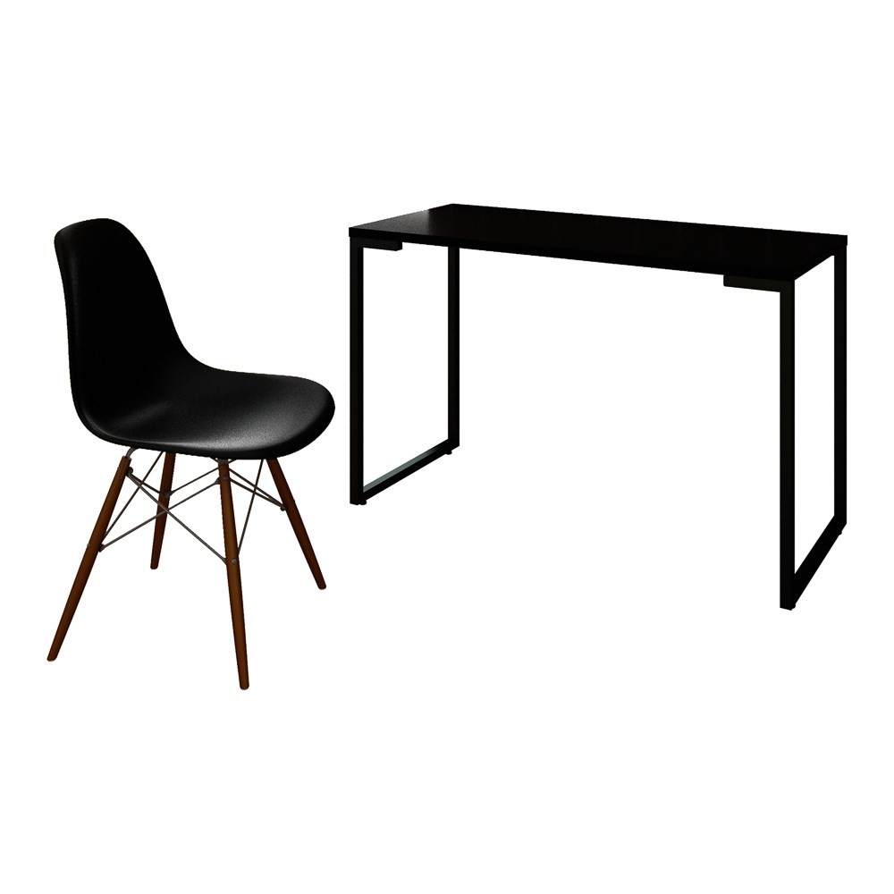 Mesa Escrivaninha Fit Industrial 120cm Preto e Cadeira Charles Design FT1 Preta - Mpozenato
