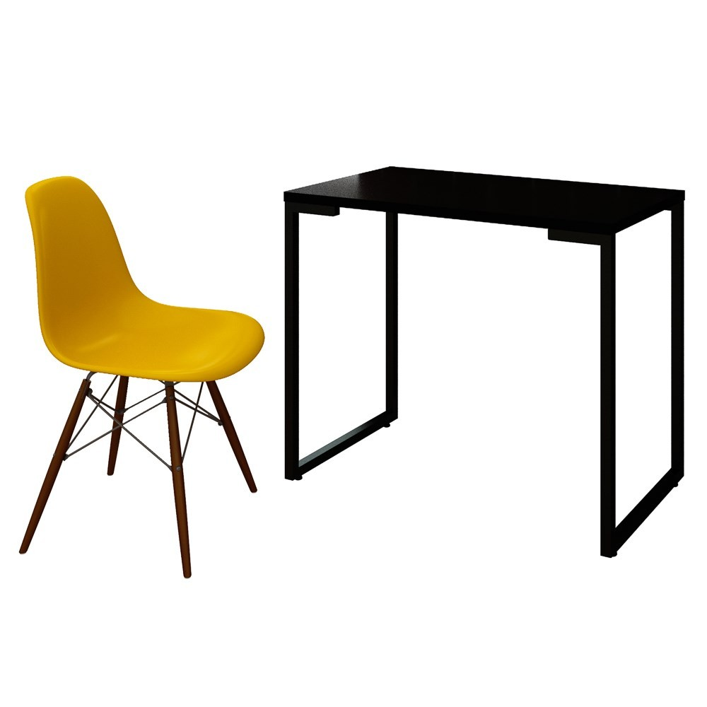 Mesa Escrivaninha Fit Industrial 90cm Preto e Cadeira Charles Design FT1 Amarela - Mpozenato