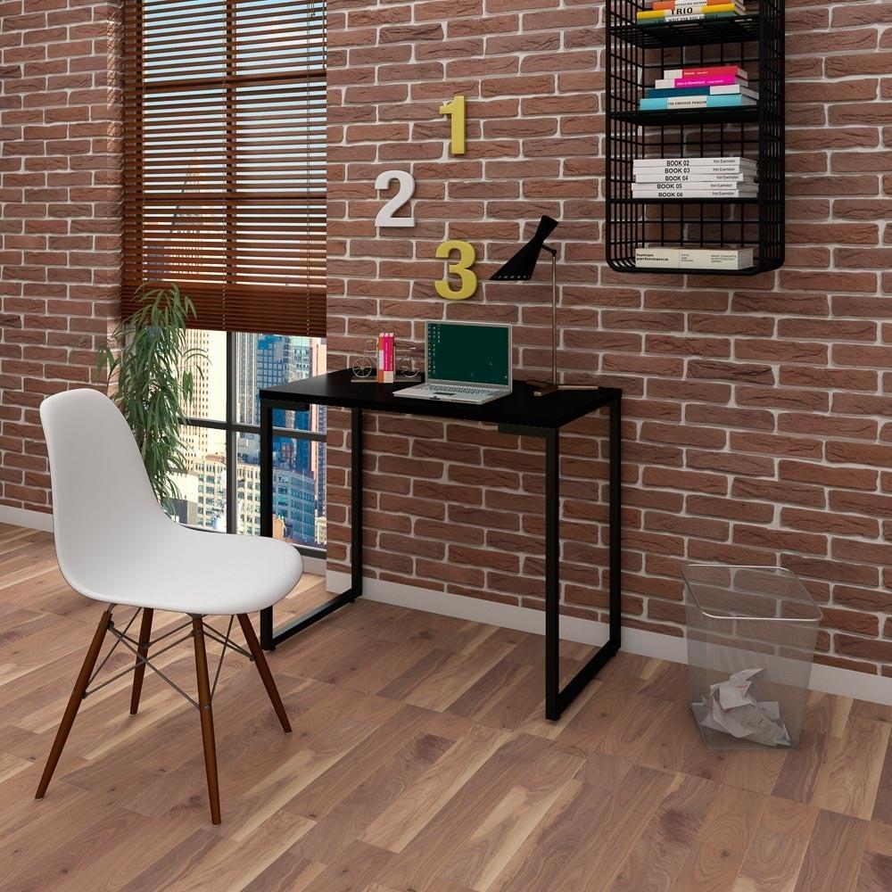 Mesa Escrivaninha Fit Industrial 90cm Preto e Cadeira Charles Design FT1 Branca - Mpozenato