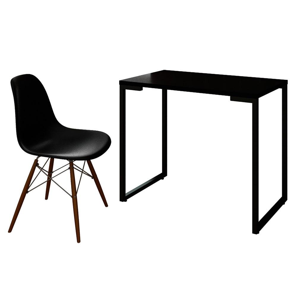 Mesa Escrivaninha Fit Industrial 90cm Preto e Cadeira Charles Design FT1 Preta - Mpozenato