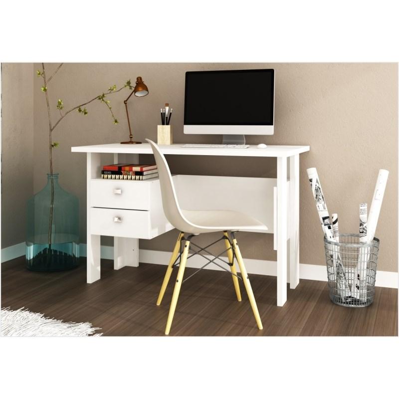 Mesa para Computador 02 Gavetas MSM 423 Branco - Móveis MB