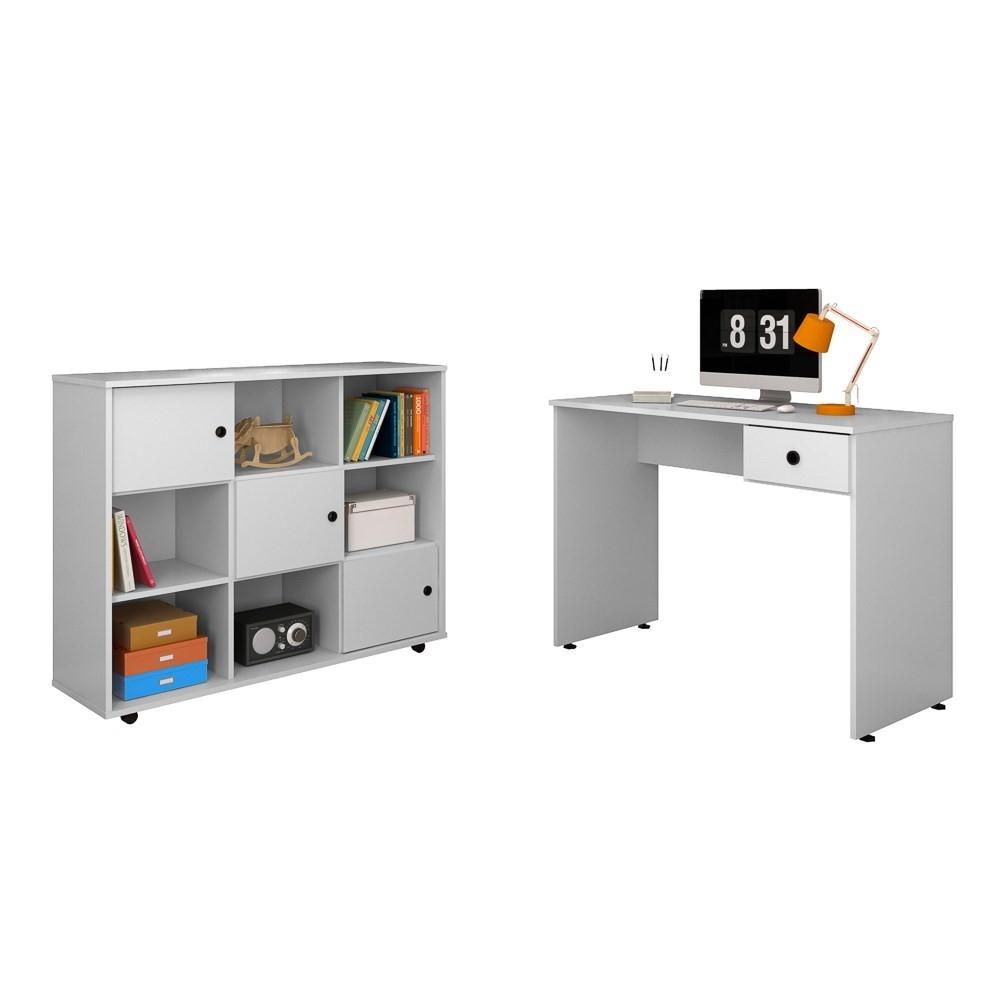 Mesa para Computador Escrivaninha Dubai e Nicho Multiuso Amã L03 Branco - Mpozenato