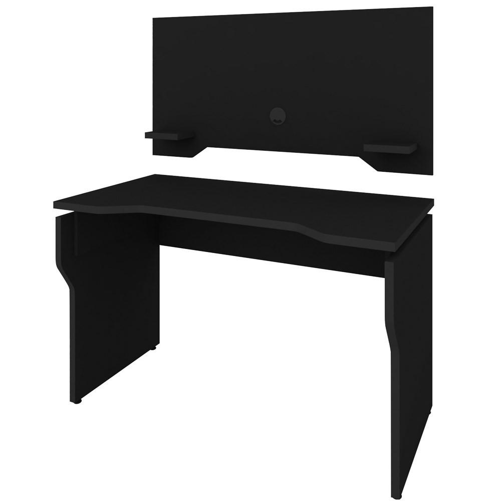 Mesa Para Computador Gamer Com Painel 2 Prateleiras Preto - Artany