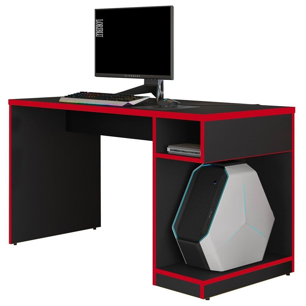 Mesa Para Computador Notebook Gamer X Preto/Vermelho - Fit Mobel
