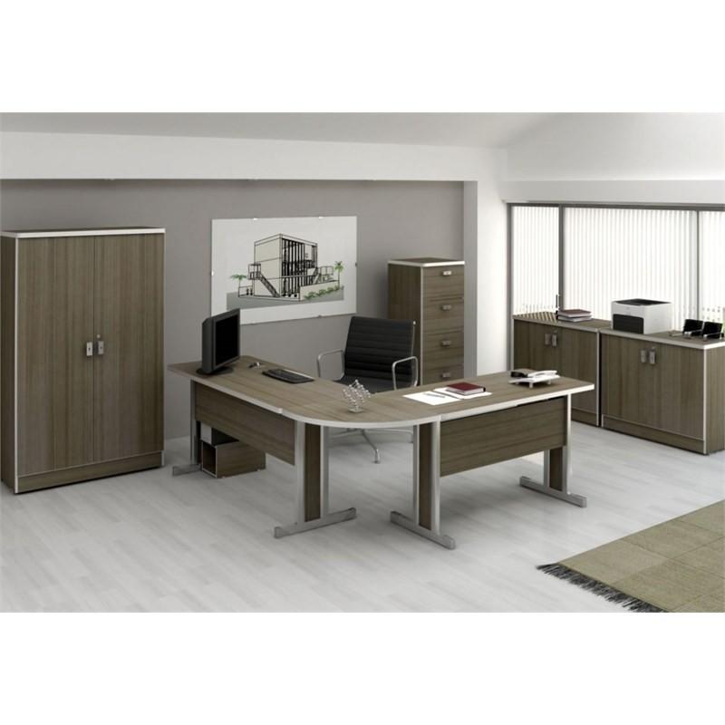 Mesa para Escritório Secretária Versátil 123 cm Teca Itália - Kappesberg