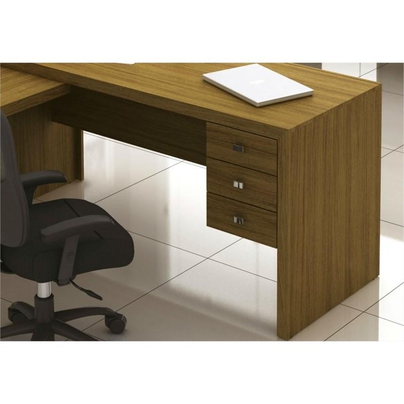 Mesa para Home Office com 03 Gavetas Amêndoa -Tecno Mobili