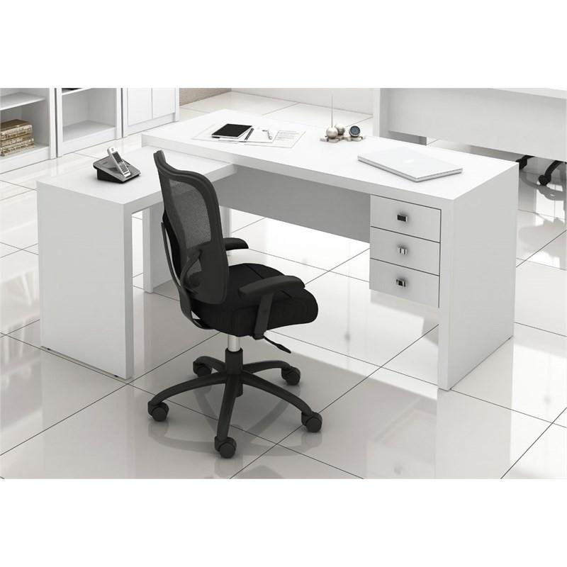 Mesa para Home Office com 03 Gavetas Branco -Tecno Mobili