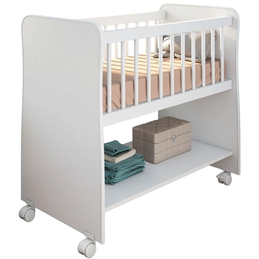 Mini Berço Moisés com Colchão e Rodízios Certificado pelo Inmetro Rubi Branco - PN Baby