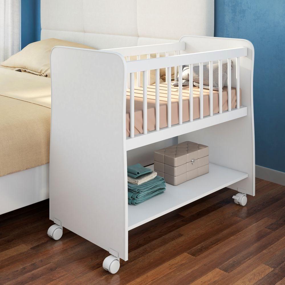 Mini Berço Moisés com Colchão e Rodízios Rubi Branco - PN Baby