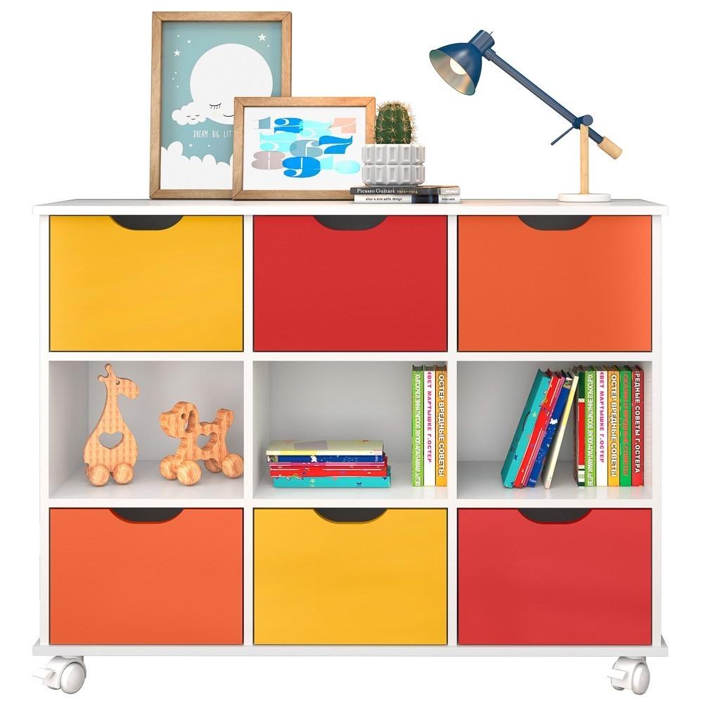 Nicho Organizador Multifuncional com Rodízios Toys Q01 6 Gavetas Branco/Colorido - Mpozenato