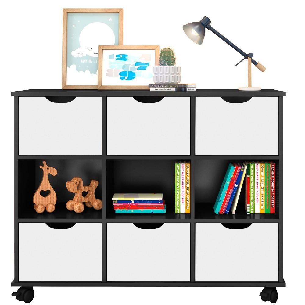 Nicho Organizador Multifuncional com Rodízios Toys Q01 6 Gavetas Preto/Branco - Mpozenato
