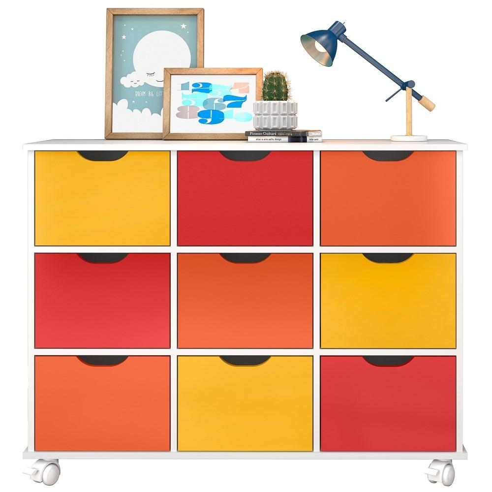 Nicho Organizador Multifuncional com Rodízios Toys Q01 9 Gavetas Branco/Colorido - Mpozenato