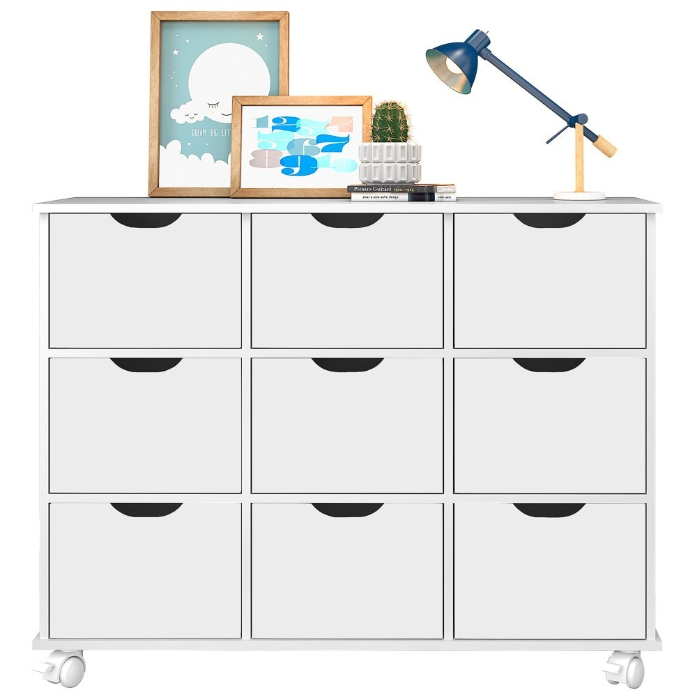 Nicho Organizador Multifuncional com Rodízios Toys Q01 9 Gavetas Branco - Mpozenato