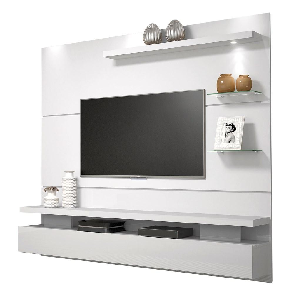 Painel Home Suspenso para Tv até 65 Polegadas Grécia Branco Gloss - DJ Móveis