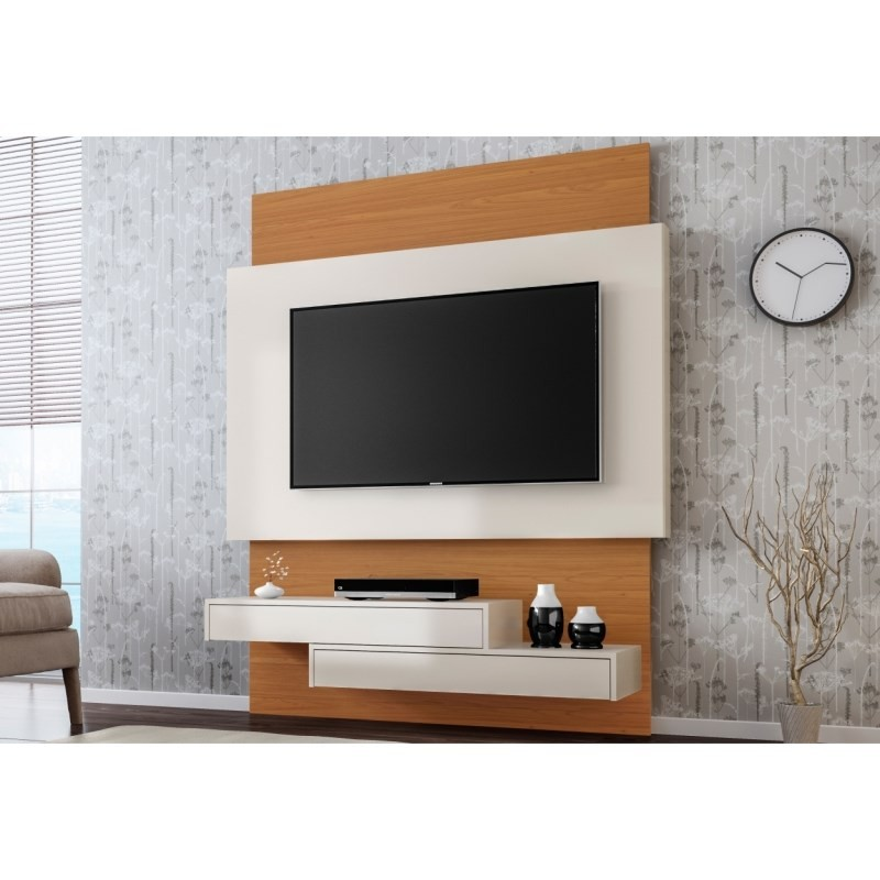 Painel Home Suspenso para TV TB120 Off White/Freijó - Dalla Costa