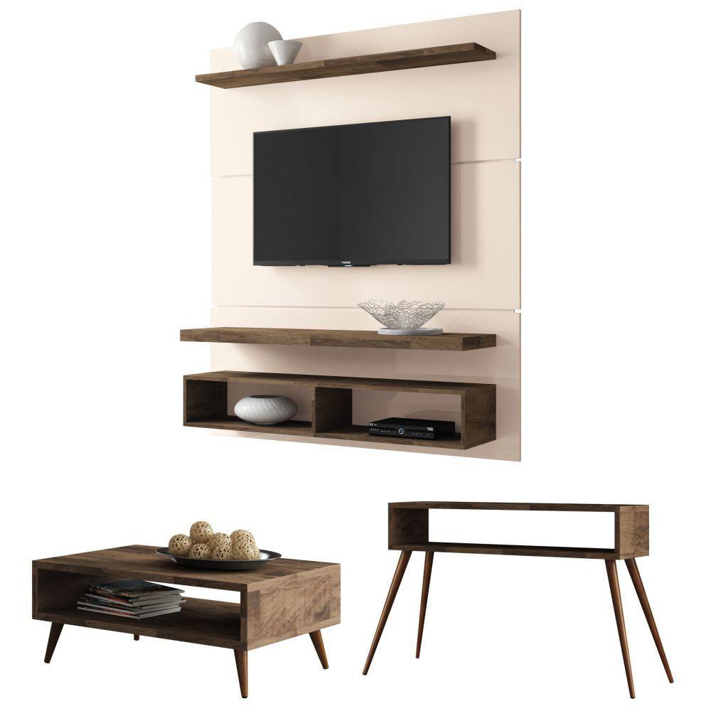 Painel para TV Life 1.3 com Aparador Quad e Mesa de Centro Lucy - HB Moveis