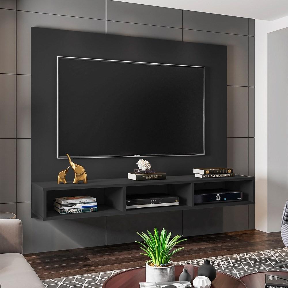 Painel TV Bancada Suspensa para TV de até 50 Polegadas Quartzo Preto - Móveis Leão
