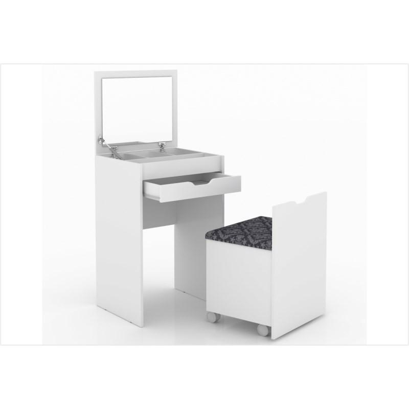 Penteadeira Compacta 1 Gaveta e Espelho PE2007 Branco/Tecido 369 - Tecno Mobili
