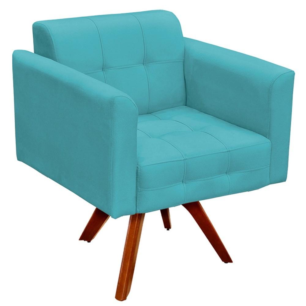 Poltrona Decorativa Sala de Estar Base Madeira Giratória Ana Suede Azul Turquesa - Ibiza