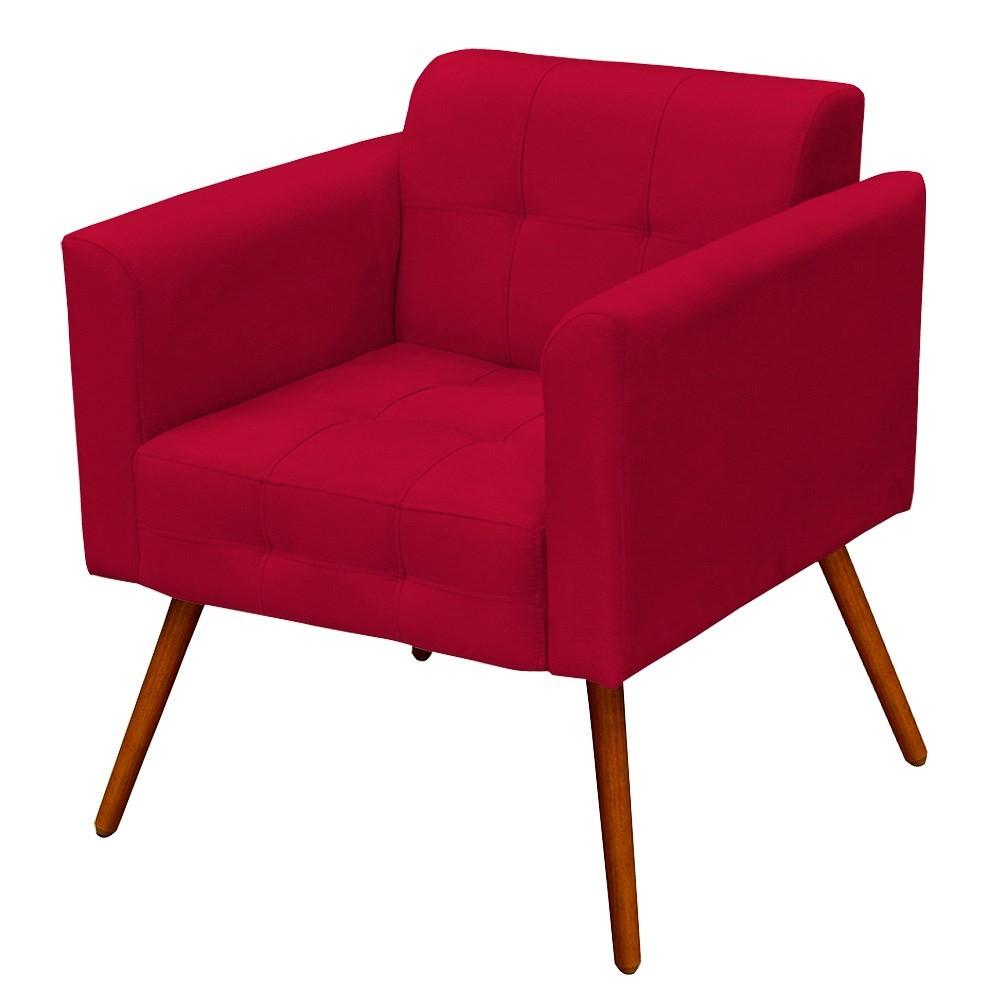 Poltrona Decorativa Sala de Estar Pés Palito Ana Suede Vermelho - Ibiza