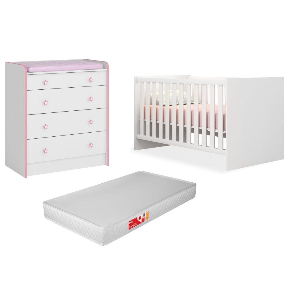 Quarto de Bebê Cômoda 2523 e Berço 1344 Doce Sonho com Colchão Branco/Rosa - Qmovi