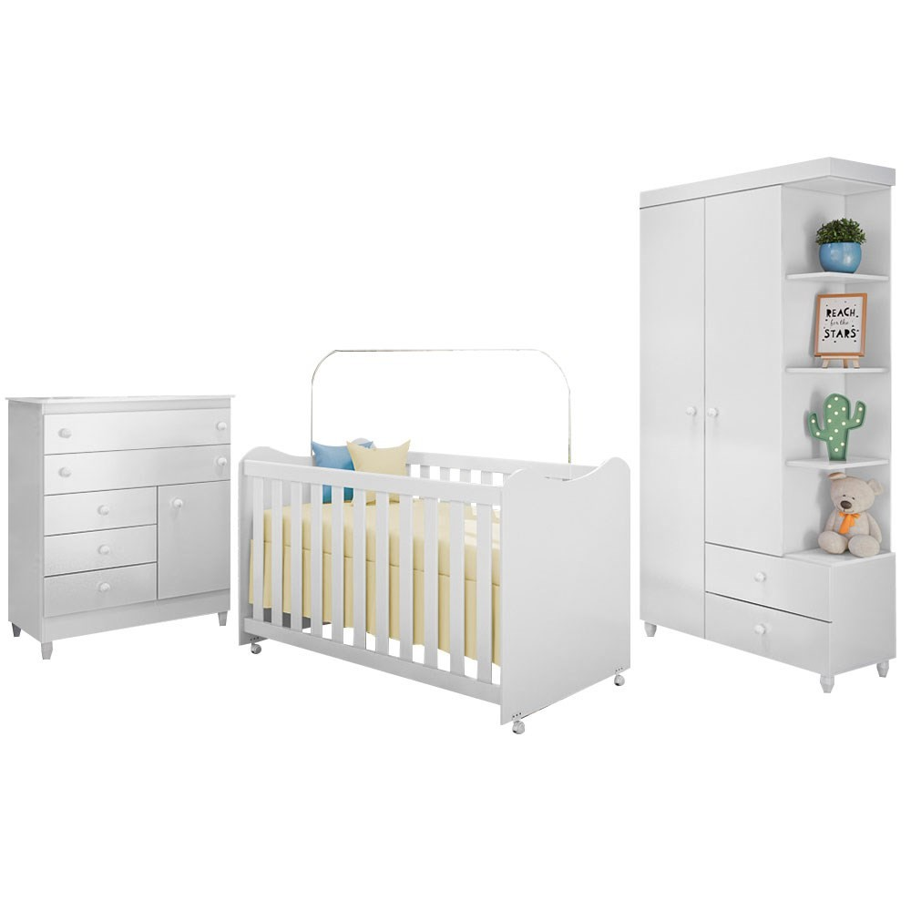 Quarto de Bebê Completo Rubi Branco - PN Baby