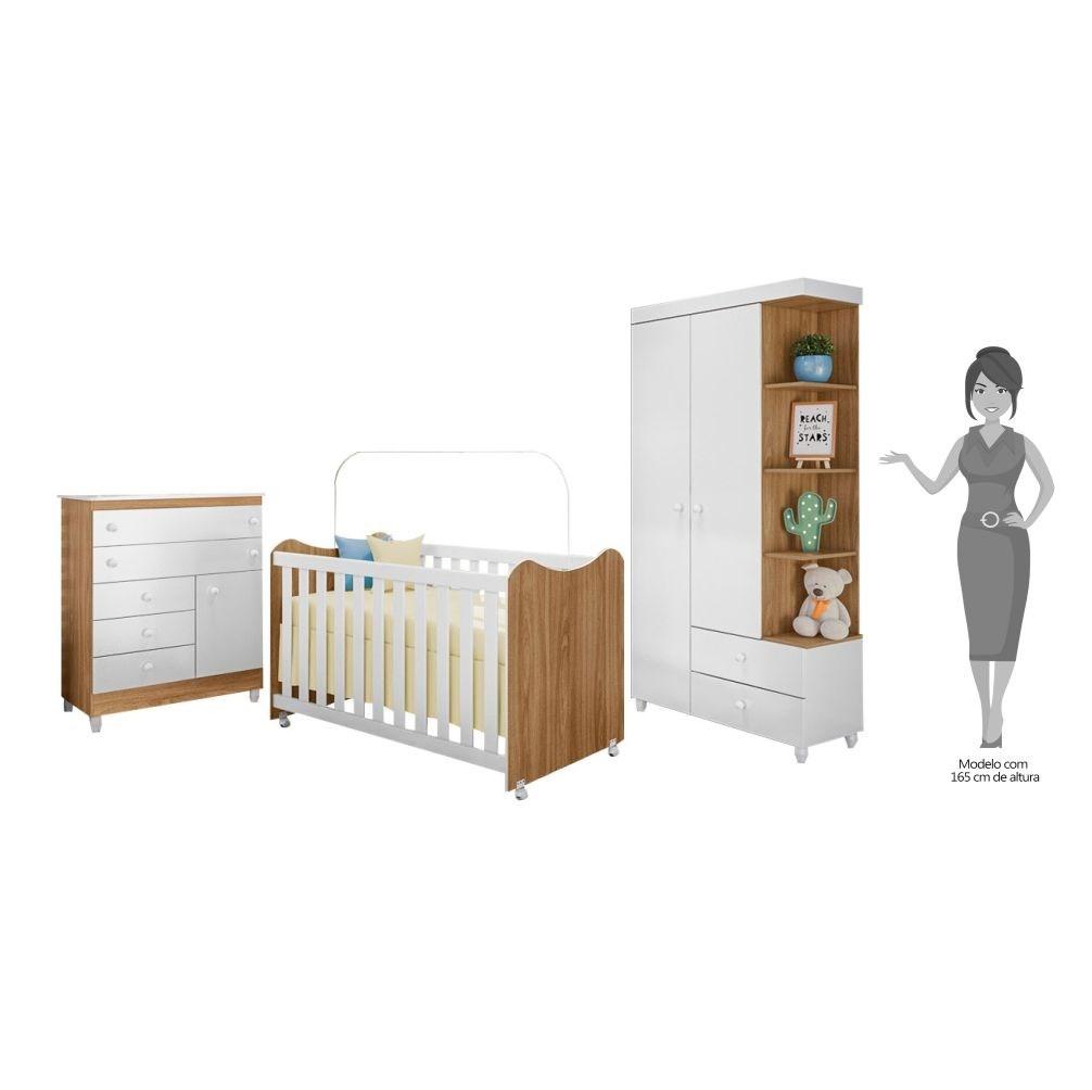 Quarto de Bebê Completo Rubi Nature/Branco- PN Baby
