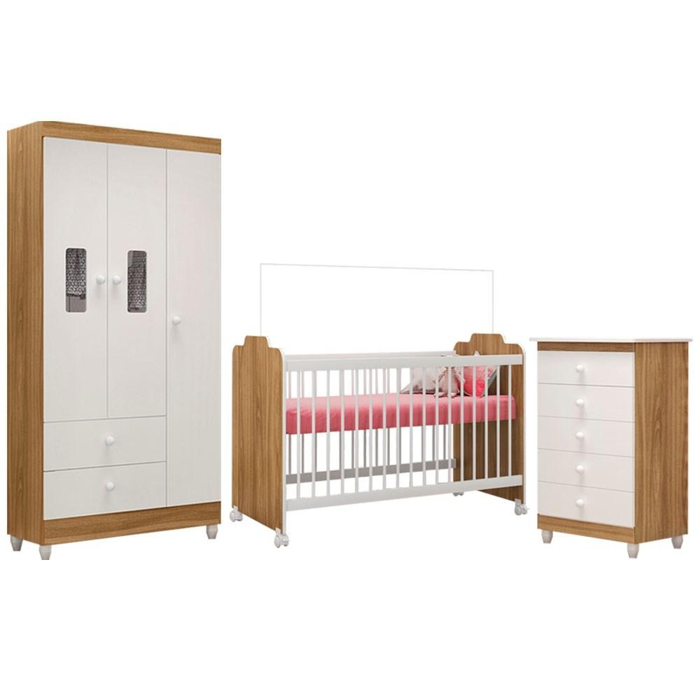 Quarto de Bebê Completo Vitória e Berço Ternura Nature/Branco - PN Baby