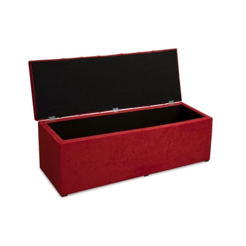 Recamier Calçadeira Baú 90 cm Roma Suede Amassado Vermelho - JS Móveis