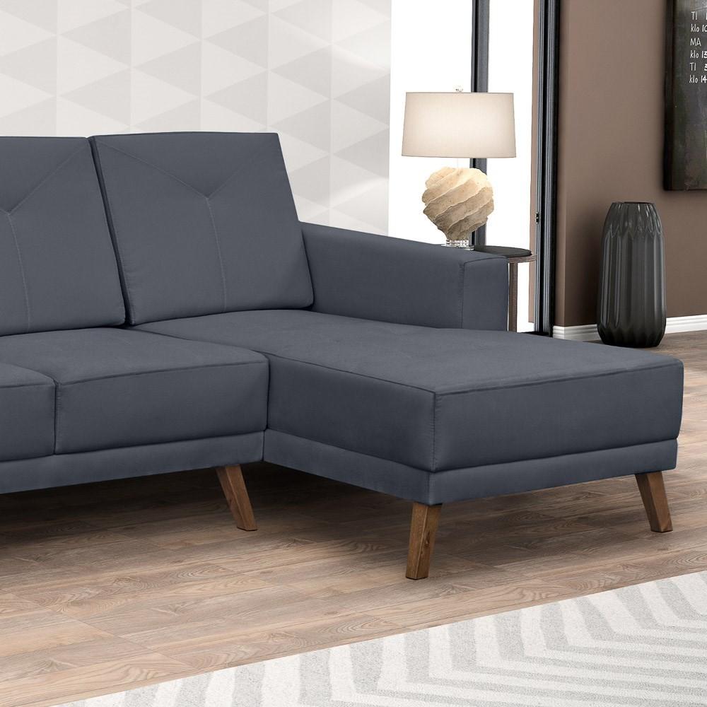 Sofá 3 Lugares com Chaise Esquerdo Pés Retrô Capricho Suede Azul - D'Monegatto