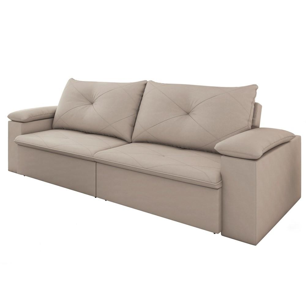 Sofá Retrátil Reclinável Sala de Estar 3 Lugares 230cm Tico Suede Marfim - D'Monegatto