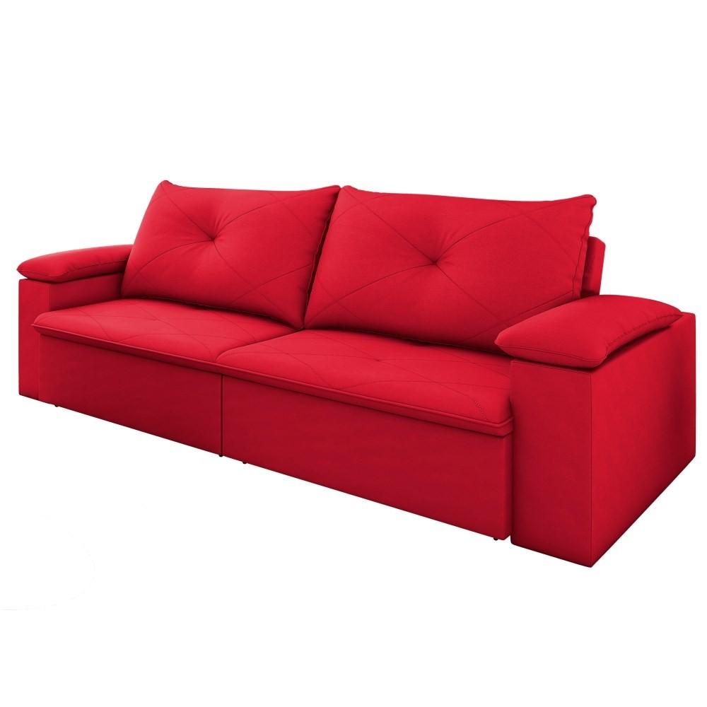 Sofá Retrátil Reclinável Sala de Estar 3 Lugares 230cm Tico Suede Vermelho - D'Monegatto