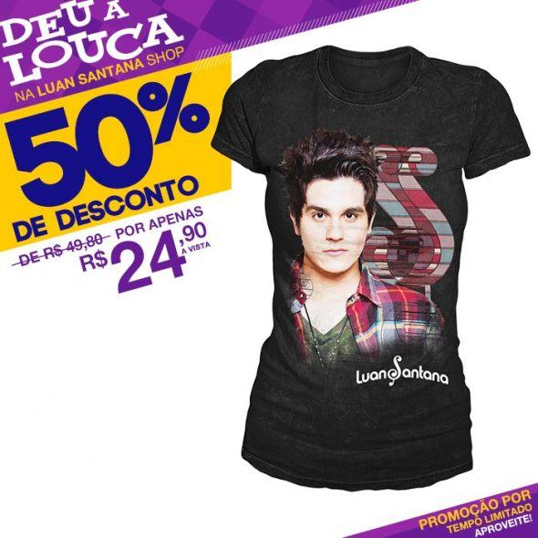 SUPER PROMOÇÃO Luan Santana - Camiseta Feminina Face PRETO