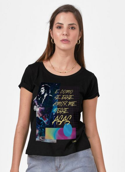 Camiseta Feminina Luan Santana É Como se Esse Amor me Desse Asas