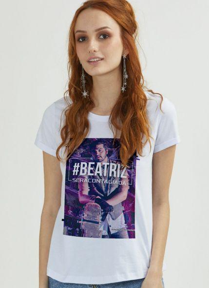 Camiseta Feminina Personalizada Luan Santana Você será Contagiada Branca
