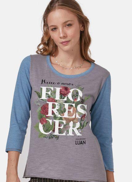 Camiseta Manga Longa Feminina Luan Santana Florescer