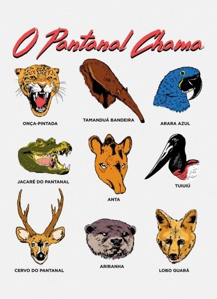 Camiseta O Pantanal Chama <b>Diversidade Animal</b>