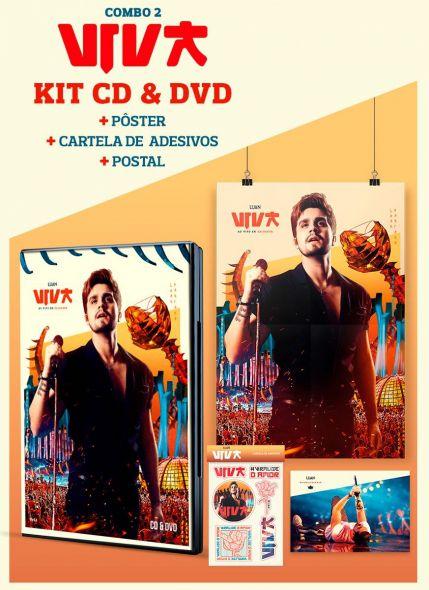 Combo Luan Santana Viva CD & DVD + Pôster + Cartela de Adesivos + Cartão Postal