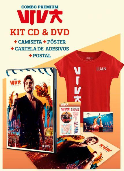 Combo Premium Luan Santana Viva CD&DVD + Camiseta Feminina + Pôster + Cartela de Adesivos + Cartão Postal