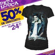 SUPER PROMOÇÃO Luan Santana - Camiseta Feminina Quando Chega a Noite PRETA