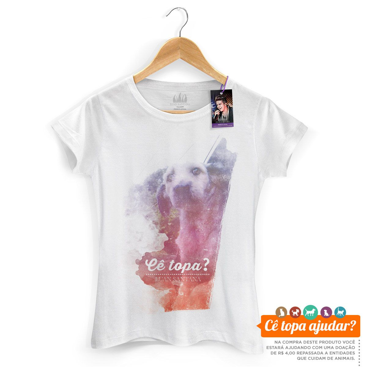 Camiseta Feminina Luan Santana Cê Topa Me Levar Pra Casa? Feelings