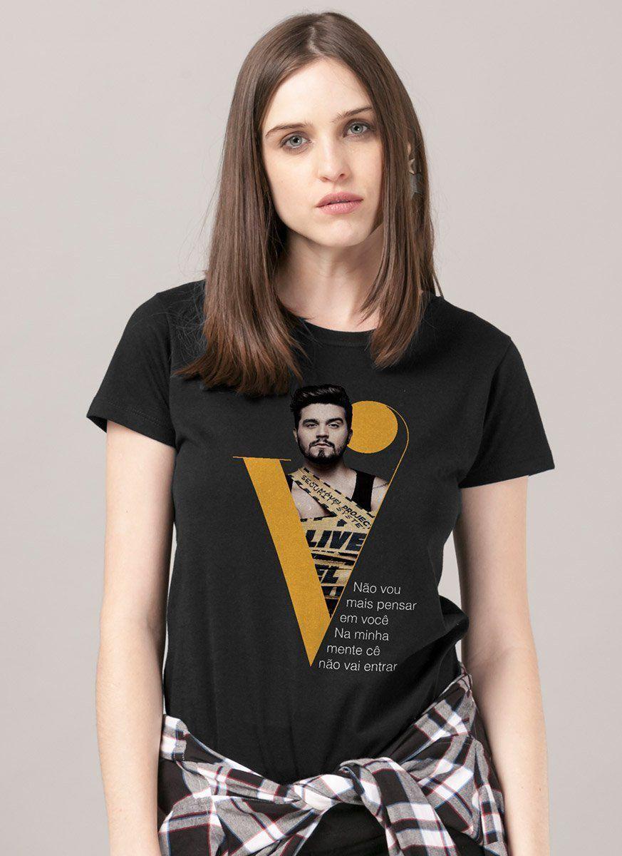 Camiseta Feminina Luan Santana Na Minha Mente Cê Não Vai Entrar