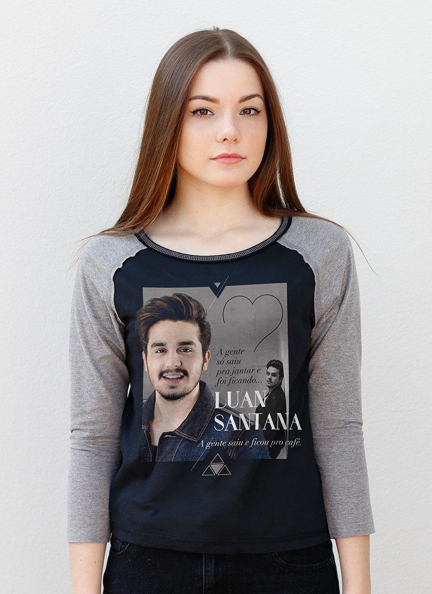 Camiseta Manga Longa Feminina Luan Santana Cantada Foto