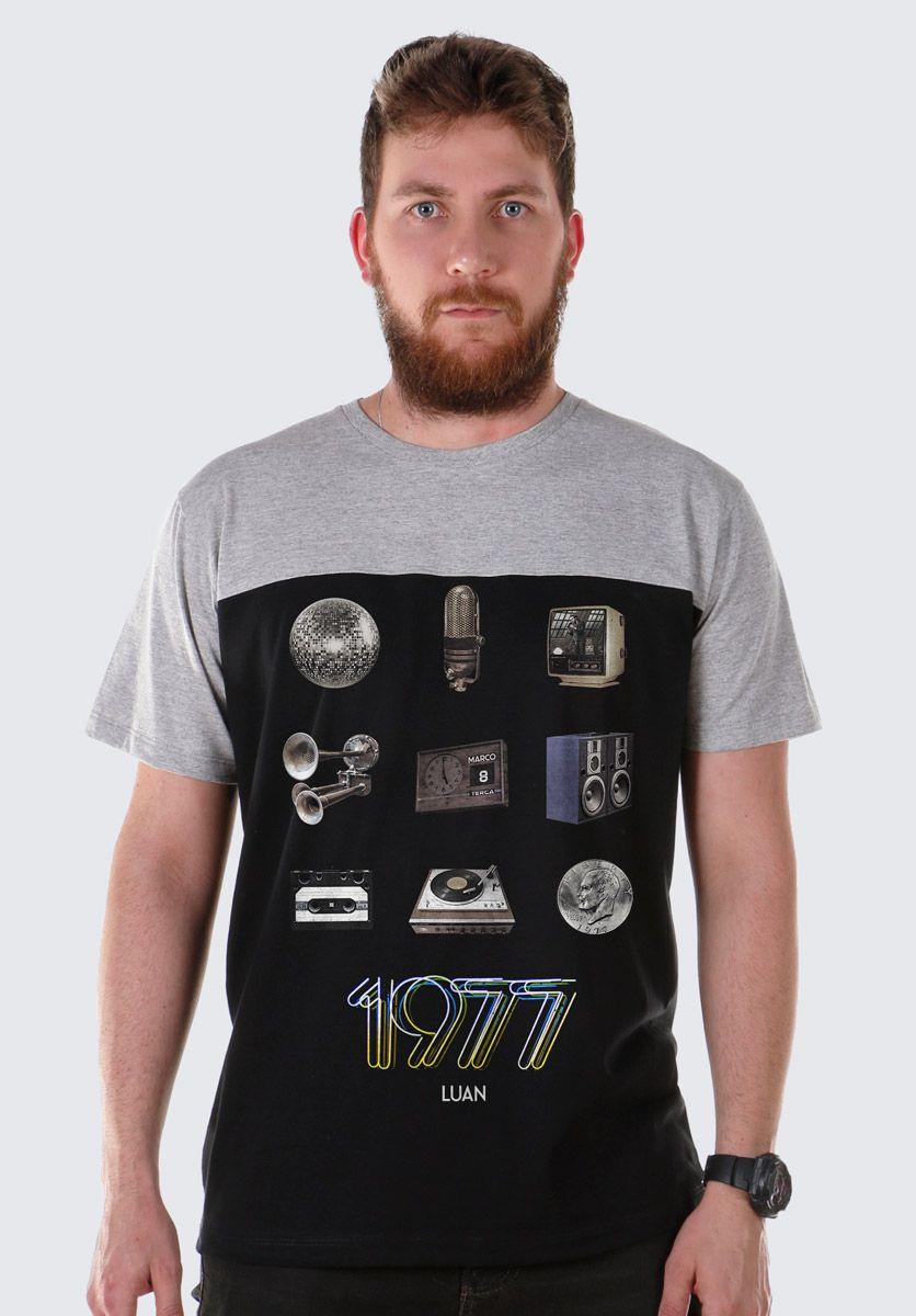Camiseta Masculina BiColor Luan Santana 1977 Retrô